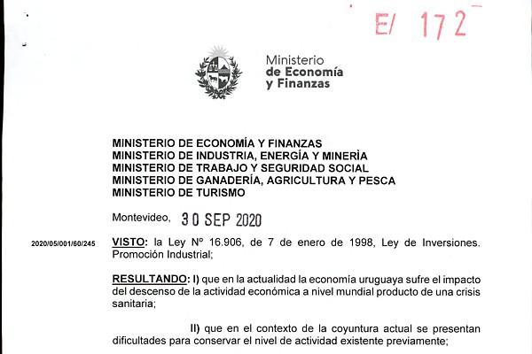 Beneficios adicionales para proyectos de inversión en Uruguay (Decreto Nº 268/2020)