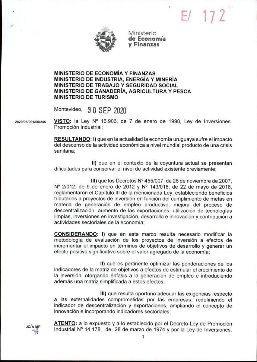 Hoja 1/15 del decreto MEF 172 de 30 de setiembre 2020