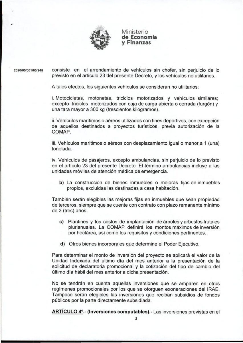 Hoja 3/15 del decreto MEF 172 de 30 de setiembre 2020