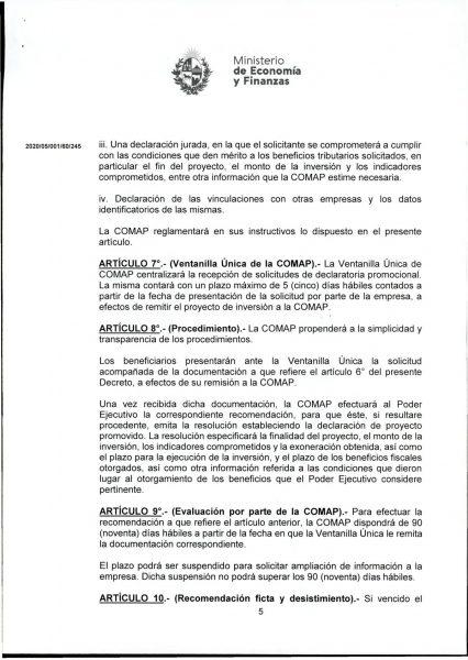 Hoja 5/15 del decreto MEF 172 de 30 de setiembre 2020