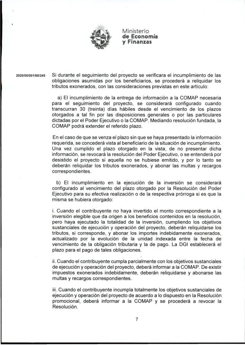 Hoja 7/15 del decreto MEF 172 de 30 de setiembre 2020