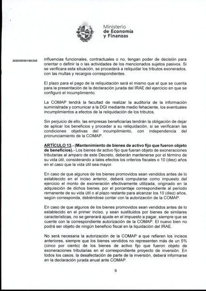 Hoja 9/15 del decreto MEF 172 de 30 de setiembre 2020