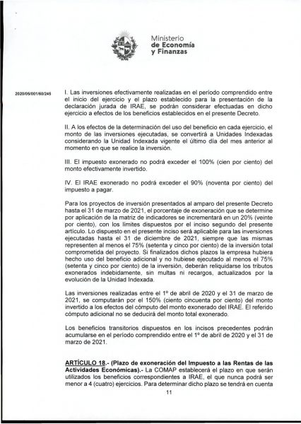 Hoja 11/15 del decreto MEF 172 de 30 de setiembre 2020