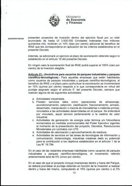 Hoja 13/15 del decreto MEF 172 de 30 de setiembre 2020