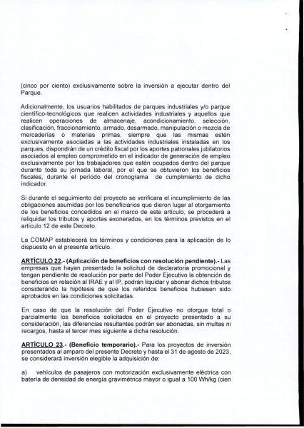 Hoja 14/15 del decreto MEF 172 de 30 de setiembre 2020
