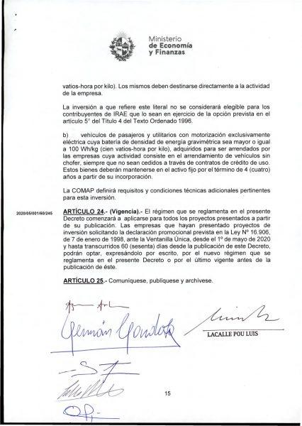 Hoja 15/15 del decreto MEF 172 de 30 de setiembre 2020
