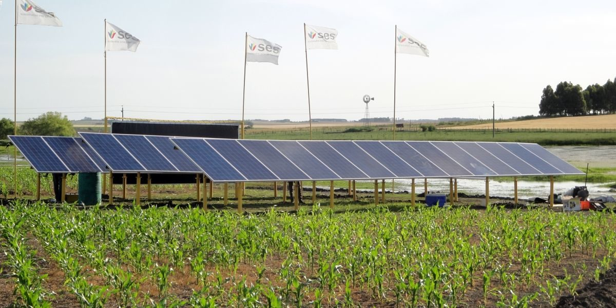 Instalación de paneles fotovoltaicos en la Expoactiva 2014, Asociación Rural de Soriano.